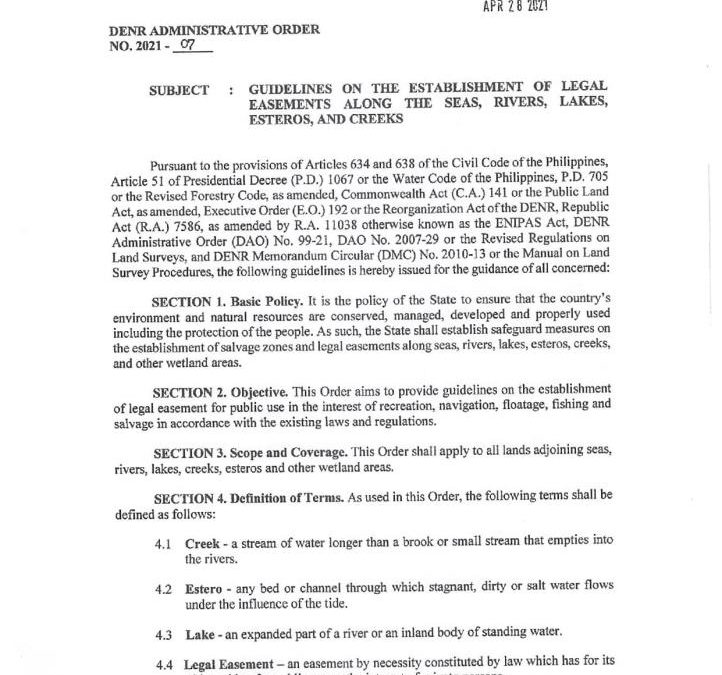 Guidelines on The Establishment of Legal Easement Along The Seas, Rivers, Lakes, Esteros, And Creek